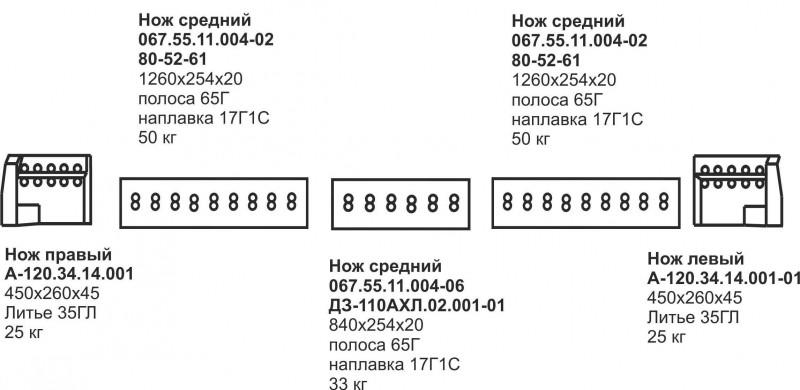 Комплект ножей Б-10, Б-170 2х3 (болотоход)