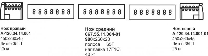 Комплект ножей А-120 средний отвал 2х3 (наплавка)