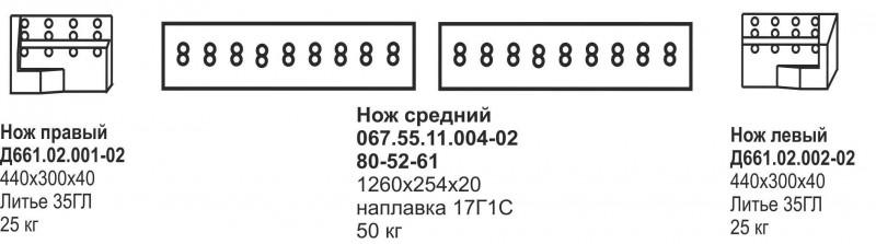 Комплект ножей Т-170, Б-10 2х2, 2х3 (отвал прямой, с наплавкой)